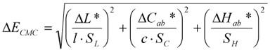 Формула расчета delta e cmc порога цвета различия