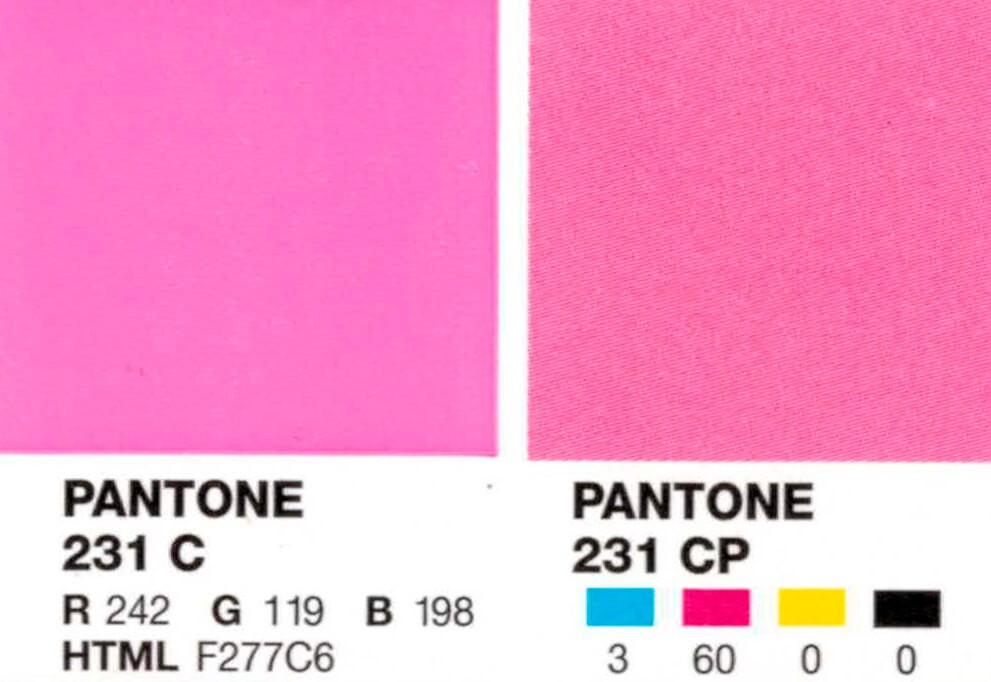 Изображение цвета в Pantone 231 и в CMYK