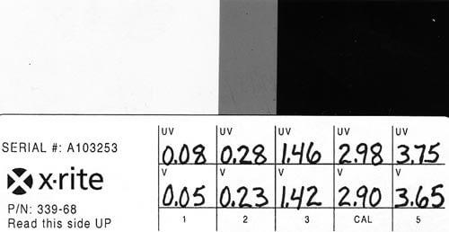 Пример калибровочной карты